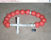 """15% OFF SALE Trail of Hearts Collection - """"JADA"""" Coral Marbleized  Jade, Crystal Encrusted Charms, Silver Plated Large Cross Stretch Bracel"""