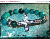 15% OFF SALE Tiffany - Gemstone and Large Statement CZs Cross and Pave Ball Stretch Bracelet