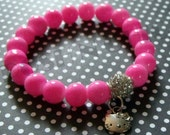 Pinky - Bright Pink Glass Beads, CZ Pave Ball, and Hello Kitty Charm Stretch Bracelet. Great to wear in a stack.
