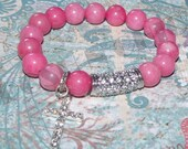 Bubblegum - Pink Morganite Gemstone and CZ  Pave Tube and Cross Charm Bracelet. Great to wear in a stack.
