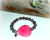 Hearty - Pink Turquiose Heart and Gray Agate Gemstone and Crystal Encrusted Stretch Bracelet