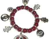 Protector - Red Carnelian Gemstone and Crystal Encrusted Charms Bracelet