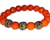 Orange Sherbet - Orange Faceted Gemstone Stretch Bracelet and Multicolor CZ Pave Balls. Great to wear in a STACK
