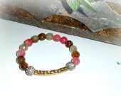 Watermelon- Gold bar, Cz pave ball, and Gemstone Stretch Bracelet