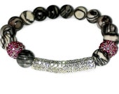 Disturbia - Netstone Gemstone Stretch Beaded Bracelet with CZ Pave Tube and Balls.Great to wear in a STACK