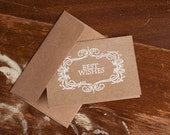 Best Wishes Note Card and Envelope- Kraft Brown