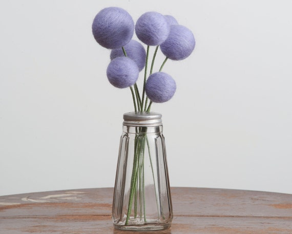 Bouquet of Needle Felted Lavender Flowers in Vintage Salt Shaker Vase