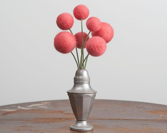 Bouquet of Needle Felted Pink Flowers with Vintage Salt Shaker Vase