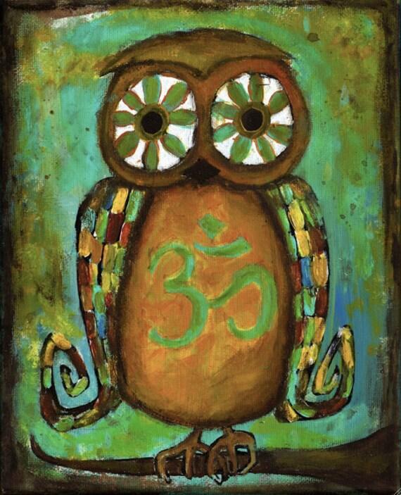 Om Owl Folk Art Autumn Yoga Hippie Kids Print