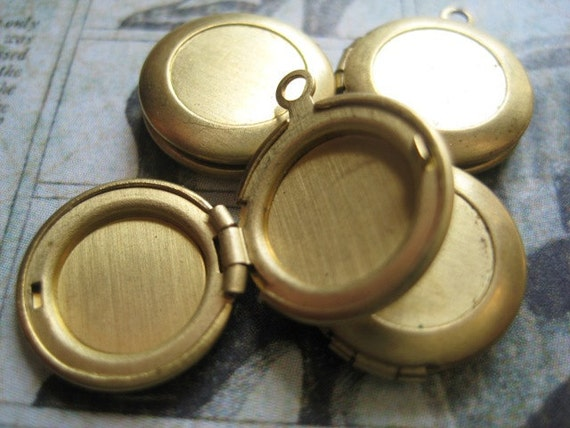 Vintage Brass Lockets 1950s Tiny