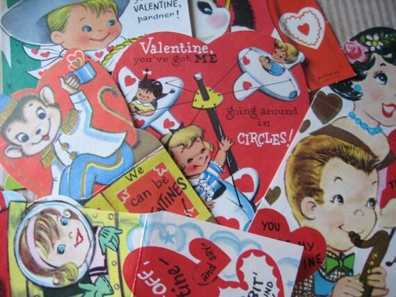 Vintage Valentine Card Lot  Ephemera Cowboy Monkey Rocket