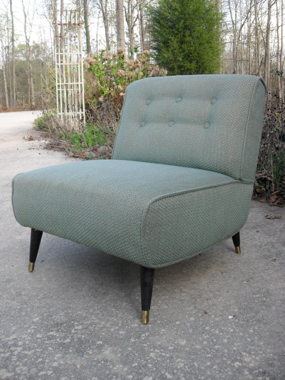 Retro 50s-60s original fabric upholstered side chair light teal with gold