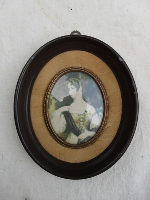Vintage Portrait of an Unknown Lady by Sir William Charles Ross in oval metal frame