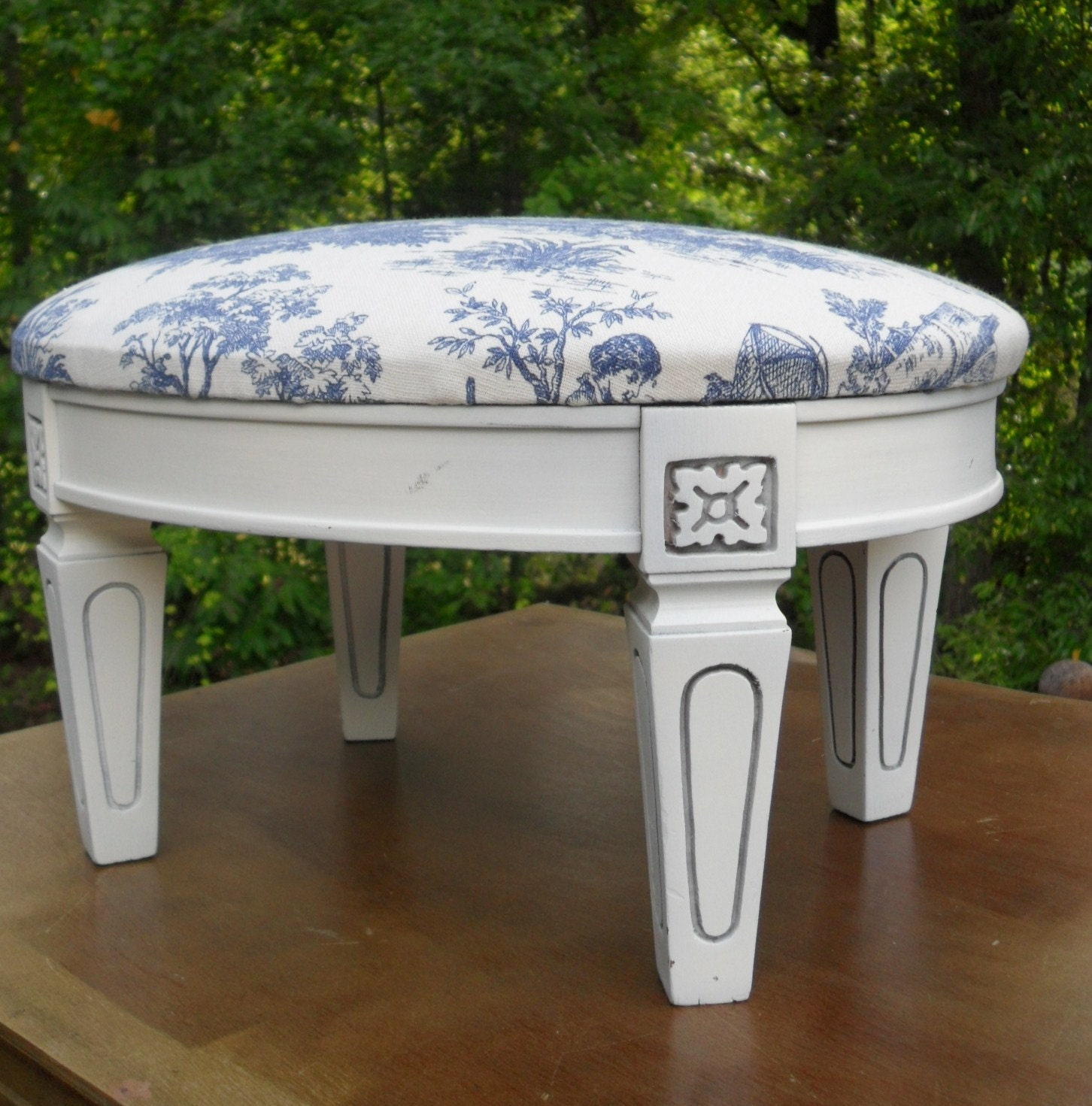 Vintage Wood And Fabric Painted Foot Stool By MyHomeAntiques. Full resolution‎  picture, nominally Width 1452 Height 1471 pixels, picture with #475D17.