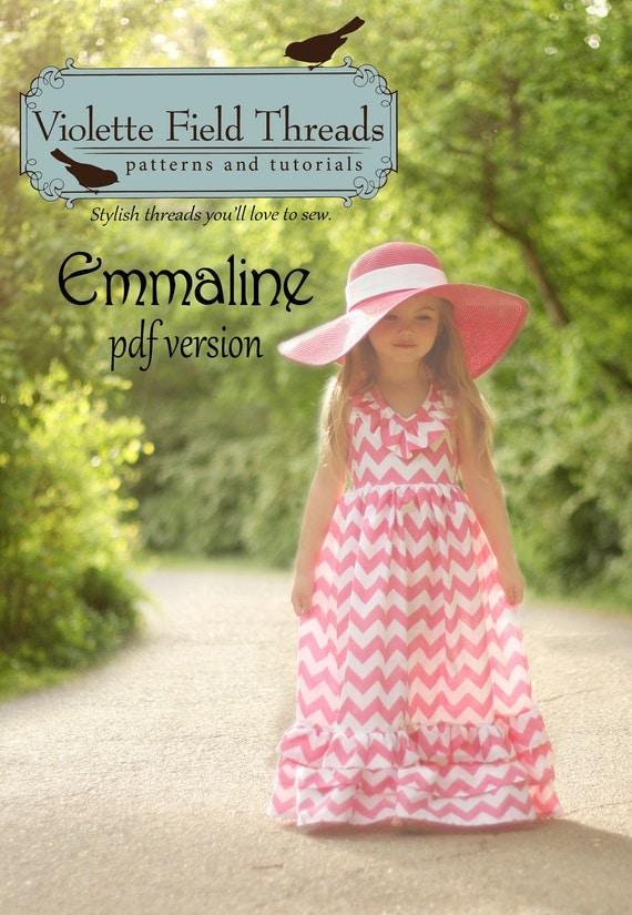 Emmaline Maxi Dress PDF Pattern Tutorial,  Ebook, Epattern, Sizes 2T-10 included.