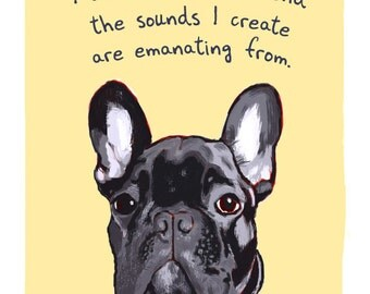 Black Frenchie Print of Original Painting with phrase