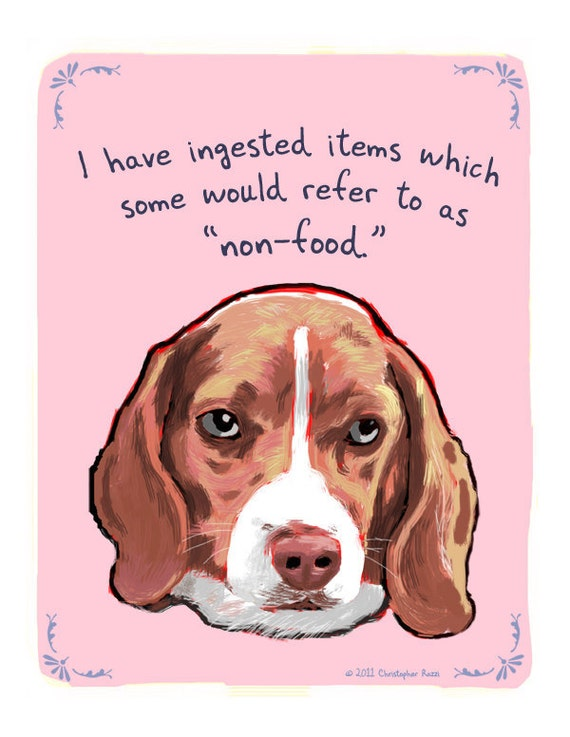 Beagle 5x7 Print of Original Painting with phrase