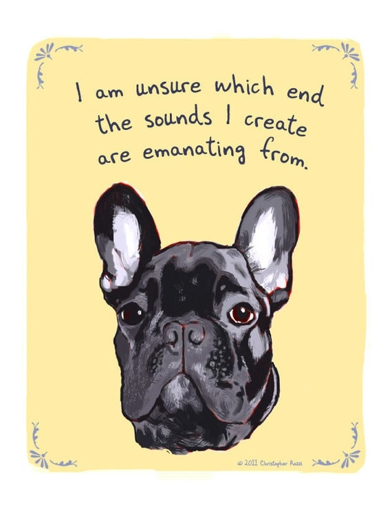Black Frenchie 5x7 Print of Original Painting with phrase