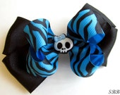 Blue and Black Zebra Stacked Bow with Skull