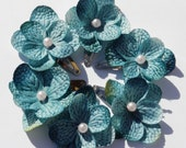 2 TEAL TURQUOISE BLUE Hydrangea Flower Blossoms with Baby Pink Pearl Bead Center
