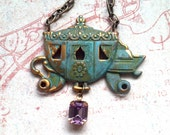 Fairytale Carriage Vintage Brass Pendant with Pink Jewel