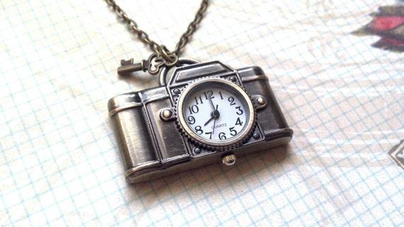 Steam Punk Camera Pocket Watch Necklace with Tiny Skeleton Key