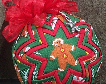 3-inch Quilted Ornament w/Charm - Gingerbread Man Fabric, Satin-Edged Red Bow & Pewter Gingerbread Man Charm