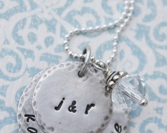 Hand stamped Jewelry Personalized Rustic Antiqued Sterling Silver Stacked Family Necklace Christmas