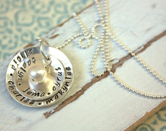 Personalized Stacked Sterling Silver Grandmothers Mothers Necklace Mothers Day