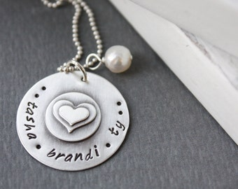 Personalized Custom Sterling Silver Hand Stamped Soldered Heart Keepsake Mommy Necklace Christmas