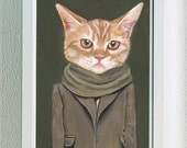 "Framed Fine Art Print- ""Cooper"" - A Cat in Clothes - Fine Art Giclee Print From Painting by Heather Mattoon"