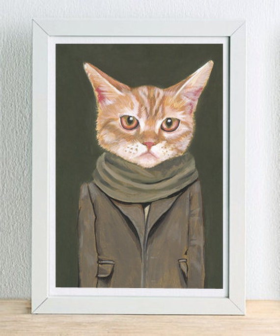 Framed Fine Art Print - Cooper - Cats In Clothes by Heather Mattoon