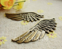 Antique Bronze Lovely Feather Wing Charms Huge Size 22x54mm - 5Pcs - DC21978