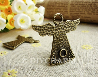 Antique Bronze Lovely Angel Charms 34.5x35.5mm - 5Pcs - DC21540
