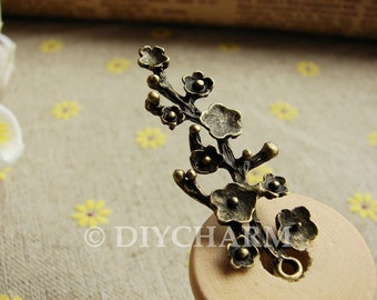 Antique Bronze Chinese Plum/Plum Blossom Flower Charms 15x42mm - 10Pcs - DC21844