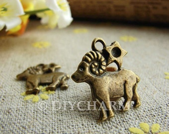 Antique Bronze Aries The Ram Constellation Charms 16mm - 10Pcs - DC21862