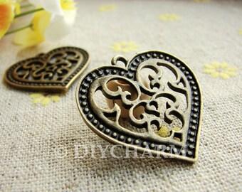 Antique Bronze Filigree Heart Charms 27x27mm - 10Pcs - DC21964