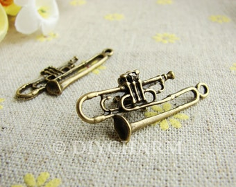 Antique Bronze Trumpet Music Instrument Charms 15x34mm - 20Pcs - DC20887
