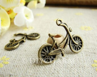 Antique Bronze Lovely Bicycle Charms 18x25mm - 10Pcs - DC20891