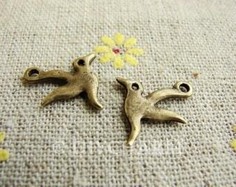 Antique Bronze Lovely Bird Charms 12x12mm - 20Pcs - DC20897