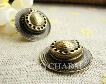Antique Bronze Weave Straw Hat Charms Large Size 24mm - 5Pcs - DC20902
