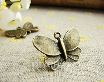 Antique Bronze Lovely Butterfly Charms 18x27mm - 10Pcs - DC20907