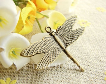 Antique Bronze Dragonfly Charms 27x36mm - 10Pcs - DC20944