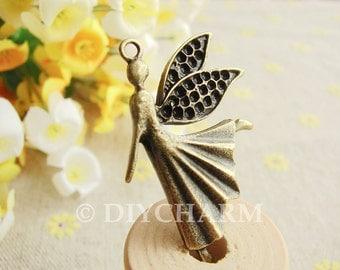 Antique Bronze Dancing Angel Fairy Charms Large Size 27x40mm - 5Pcs - DC20969