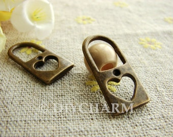 Antique Bronze Filigree Heart Lock Charms 11x25mm - 10Pcs - DC21111