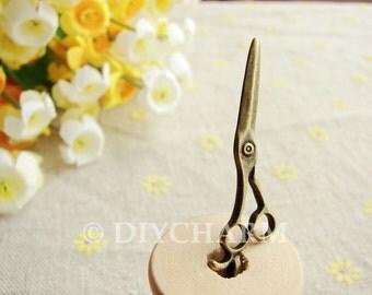 Antique Bronze Lovely Scissors Charms 11x37mm - 10Pcs - DC22291