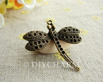 Antique Bronze Lovely Dragonfly Charms 35x37mm - 5Pcs - DC22315