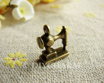 Antique Bronze 3D Sewing Machine Charms 12x12mm - 10Pcs - DC22815
