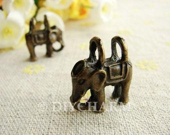 Antique Bronze Two Hole Elephant Charms 18x20mm - 2Pcs - DC23073