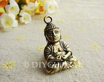 Antique Bronze Sitting Buddha Charms 24x34mm - 2Pcs - DC23330